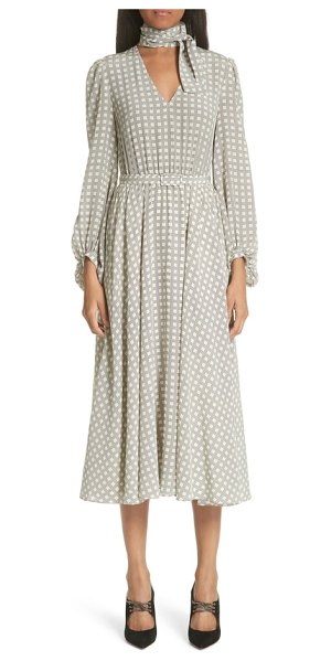 Co. houndstooth plaid tie neck silk crepe de chine dress in houndstooth plaid