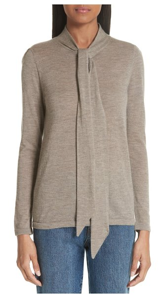 Co. essentials tie neck cashmere sweater in beige - A retro-inspired bow tying up the neck adds romantic...