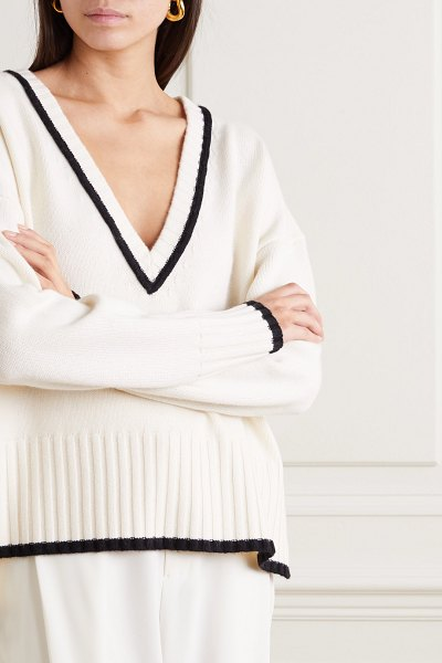 Co. two-tone wool and cashmere-blend sweater in ivory