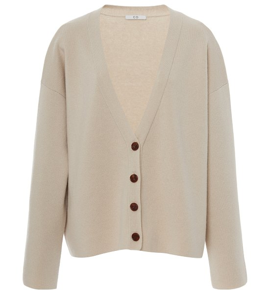 Co. wool-cashmere waffle-knit cardigan in neutral