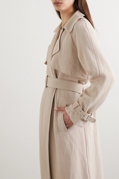 Co. woven trench coat in taupe