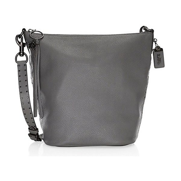 b5ee0b3f89 COACH border rivets leather shoulder bag in grey - Instantly change the  look of this pebble