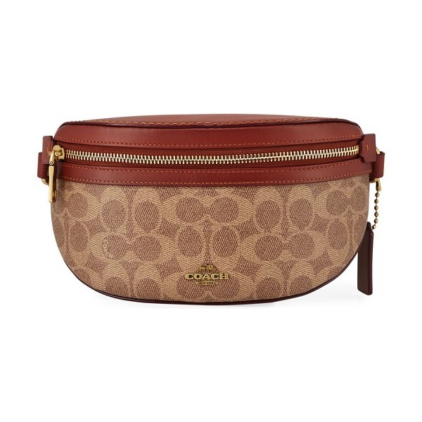 COACH Canvas and Leather Belt Bag in brown/red - Coach 1941 belt bag in signature logo canvas and refined...