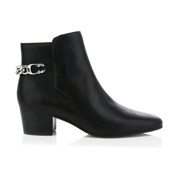 COACH carissa c-chain leather ankle boots in black