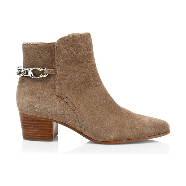 COACH carissa c-chain suede ankle boots in mushroom
