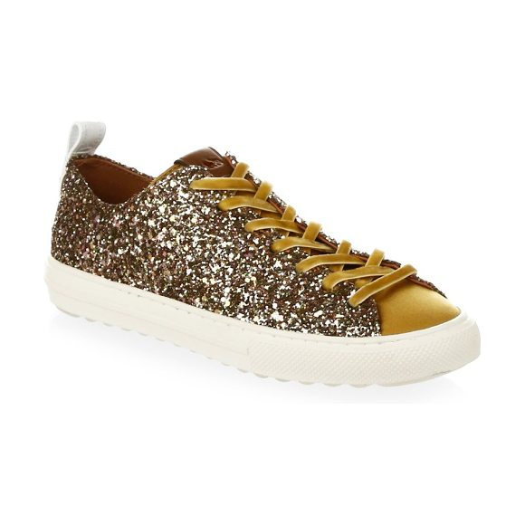 COACH glitter low top sneakers in marigold - Glitter offers vibrant accents to sneakers. Glitter...