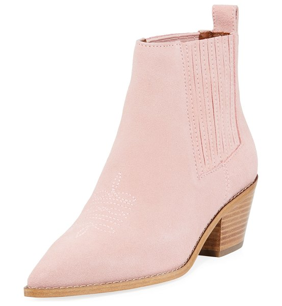 """COACH Melody Suede Western Booties in blush - Coach suede Western bootie. 2"""" stacked heel. Pointed..."""