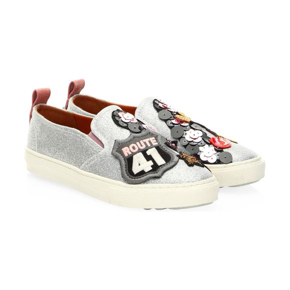 COACH route 41 leather sneakers in silver - Leather sneakers finished with patch and sequin details....