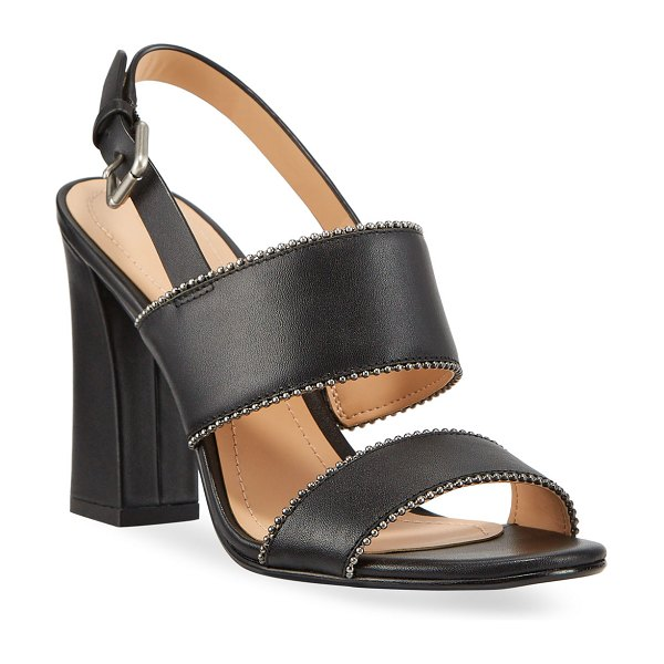 COACH Rylie Bead-Chain Leather Slingback Sandals in black