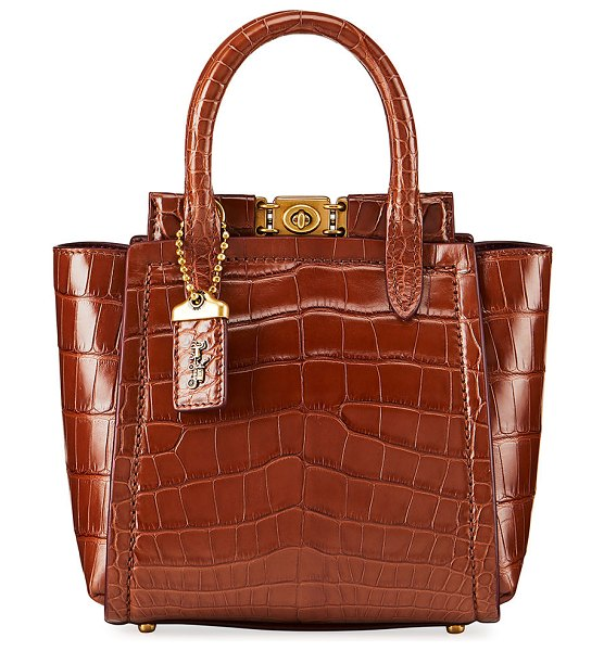 COACH Troupe Mini Alligator Tote Bag in saddle
