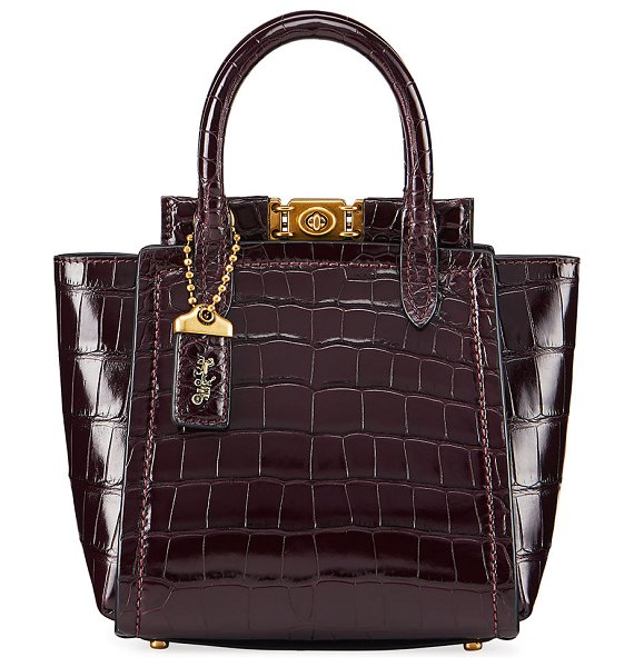 COACH Troupe Mini Alligator Tote Bag in dark red