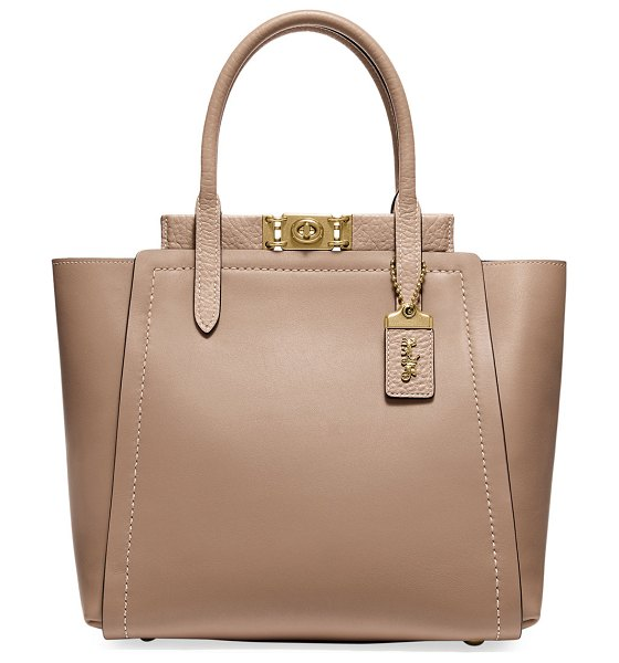 COACH Troupe Mixed Leather Tote Bag in beige