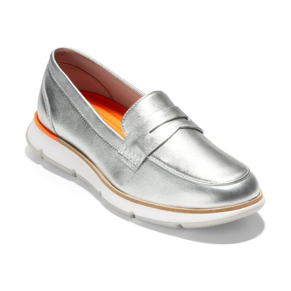Cole Haan 4.zerogrand penny loafer in silver soft talca