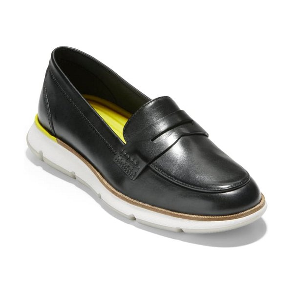 Cole Haan 4.zerogrand penny loafer in black princess leather