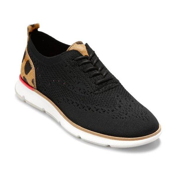 Cole Haan 4.zerogrand stitchlite oxford in black knit calf hair
