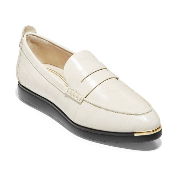 Cole Haan grand ambition troy penny loafer in ivory croc print leather