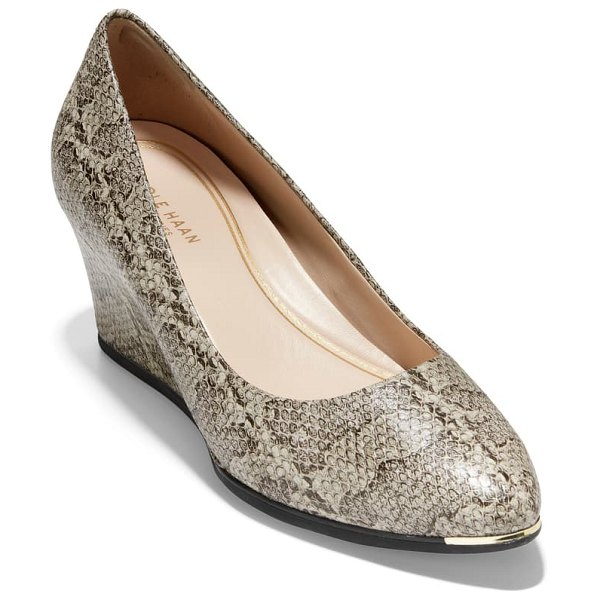 Cole Haan grand ambition wedge pump in natural snake print leather