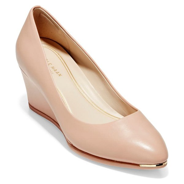 Cole Haan grand ambition wedge pump in mahogany rose leather