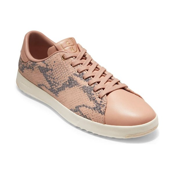 Cole Haan grandpro tennis shoe in mahogany rose snake leather