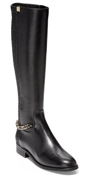 Cole Haan idinia stretch knee high boot in black leather
