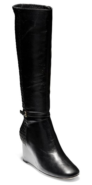 Cole Haan lauralyn knee high wedge boot in black leather