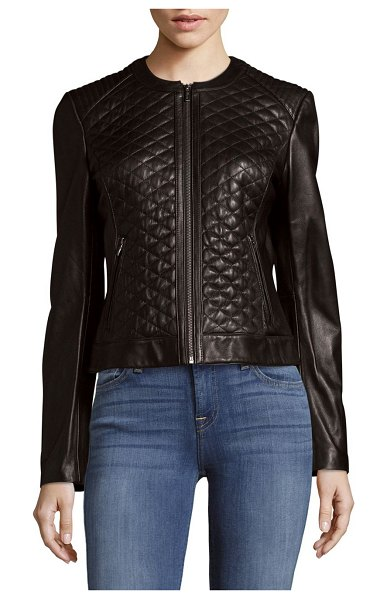 Cole Haan Quilted Leather Moto Jacket In Black Shopstasy