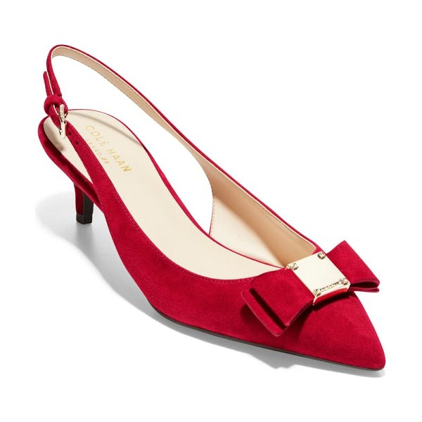 Cole Haan tali bow slingback pump in red dahlia suede