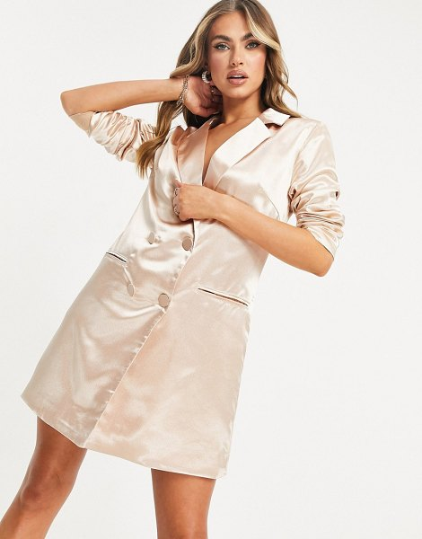 Collective The Label relaxed satin blazer dress in blush-pink in pink