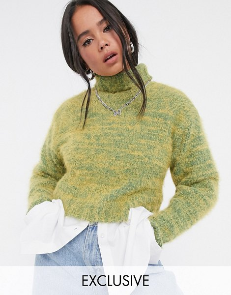Collusion fluffy yarn roll neck sweater in yellow in yellow
