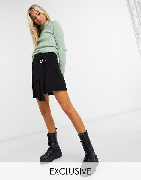 Collusion pleated buckle mini skirt in black in black