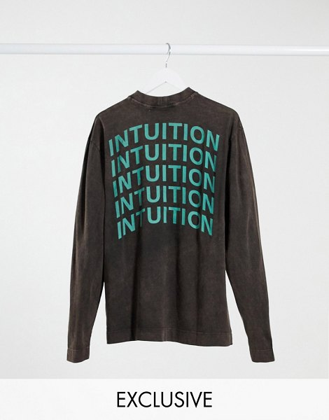 Collusion unisex long sleeve t-shirt with print in brown acid wash in brown