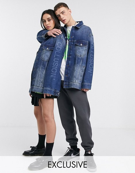 Collusion unisex oversized denim jacket in washed blue in blue