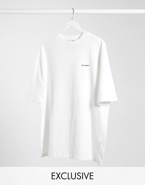 Collusion unisex undyed diy oversized t-shirt with logo print in pique-white in white