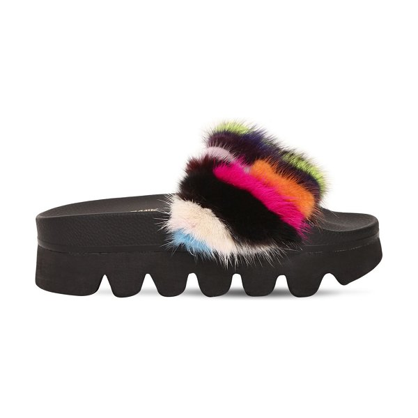 COLORS OF CALIFORNIA 60mm mink fur wedge slide sandals in multicolor - 60mm Wedge heel. Patchwork mink fur band. Patchwork...