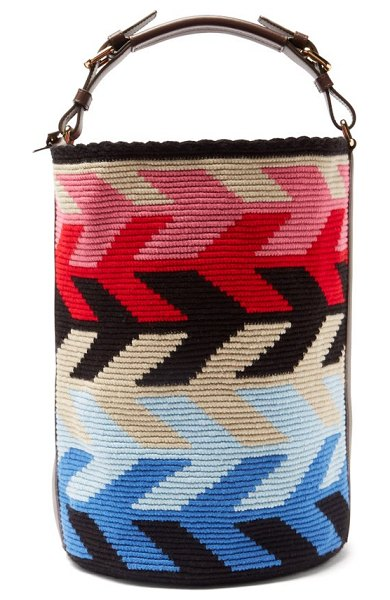 COLVILLE arrow large leather-trim woven bucket bag in multi