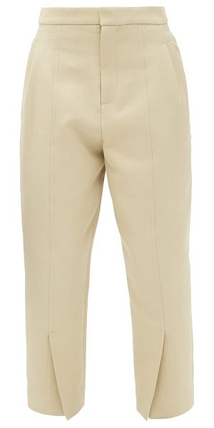 COLVILLE cropped slit-cuff cotton-blend trousers in beige