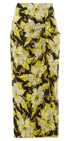 COLVILLE floral-print ruched crepe midi skirt in black yellow