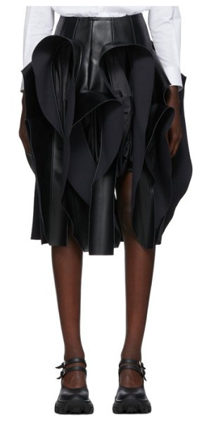 Comme Des Garcons black faux-leather ruffle skirt in 1 black