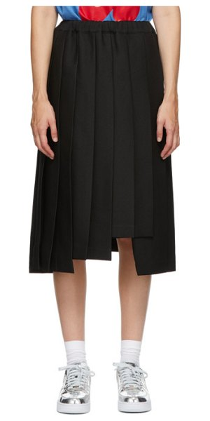 Comme Des Garcons black pleated midi skirt in 1 black