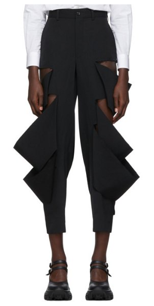 Comme Des Garcons black wool multi slit trousers in 1 black