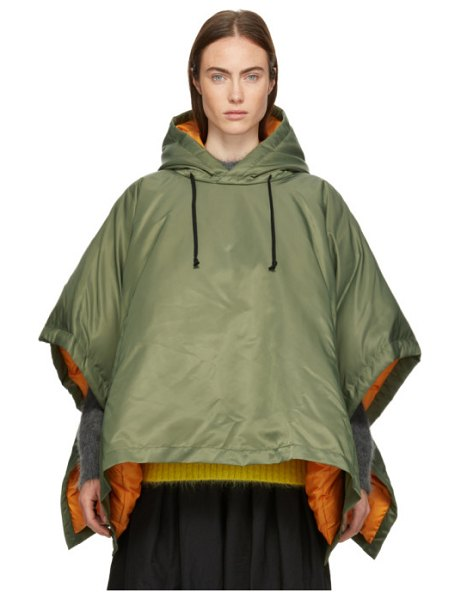 Comme des Garçons Comme des Garçons Down Hooded Poncho in khaki - Down-filled nylon twill poncho-style coat in khaki....