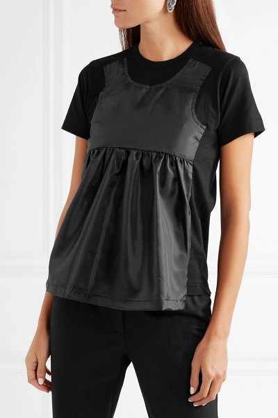 Comme des Garçons Comme des Garçons taffeta-paneled cotton-jersey t-shirt in black - If you've yet to master the art of layering, then Comme...
