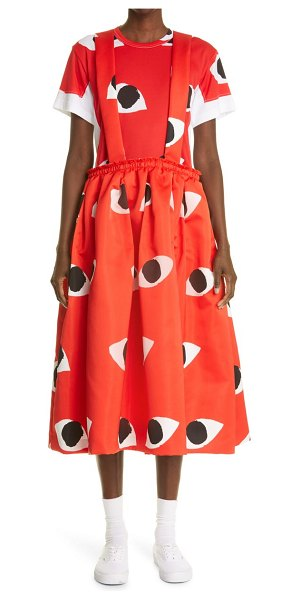 Comme Des Garcons eye print satin pinafore dress in red