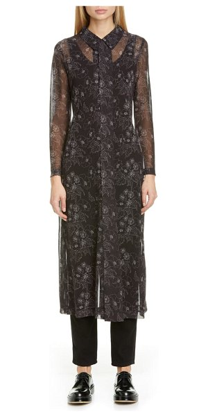 Comme Des Garcons floral print georgette long sleeve midi shirtdress in black