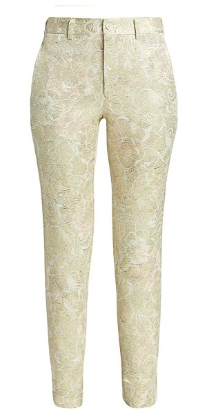Comme Des Garcons flower jacquard pants in gold natural