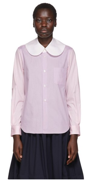 Comme des Garcons Girl white colorblocked large collar shirt in 1 mix