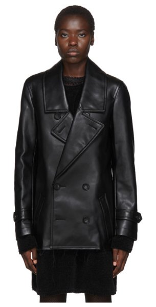 Comme Des Garcons Homme Plus black faux-leather double-breasted coat in 1 black