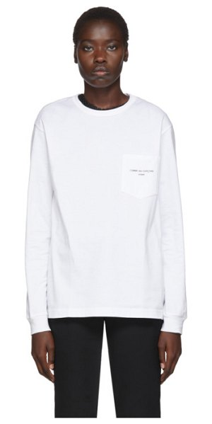 Comme Des Garcons Homme Plus white logo long sleeve t-shirt in 3 white