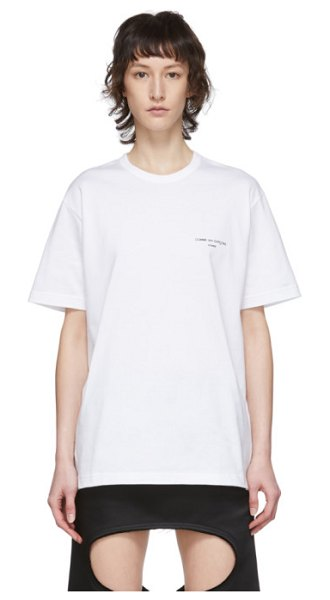Comme Des Garcons Homme Plus white logo t-shirt in 3 white