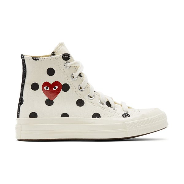 Comme Des Garcons PLAY converse edition polka dot heart chuck 70 high sneakers in white